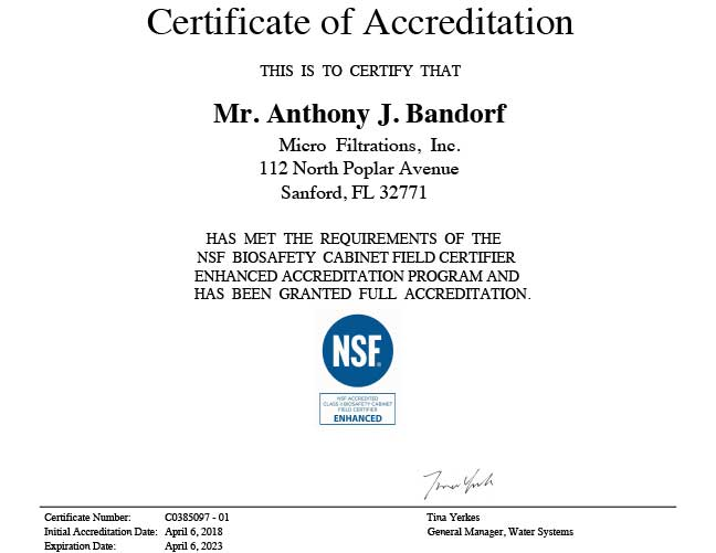 Certifications Micro Filtrations Inc