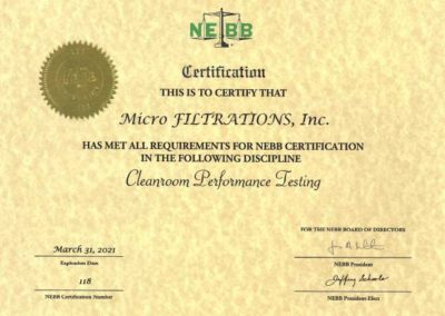 MFI NEBB Certification